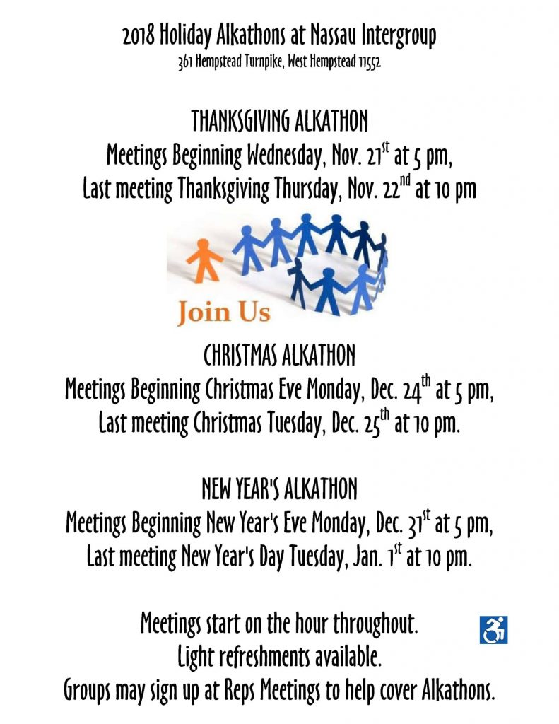 AA Marathon meetings during the holidays Nassau New York