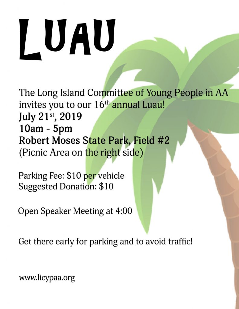 AA Luau Young People sober event  in Long island new york